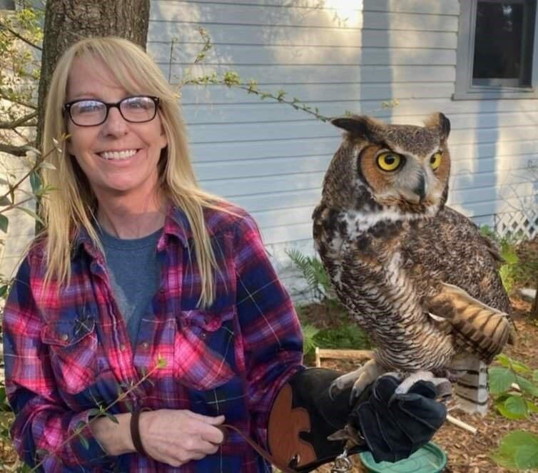 Sue Hills with Great Horned Owl