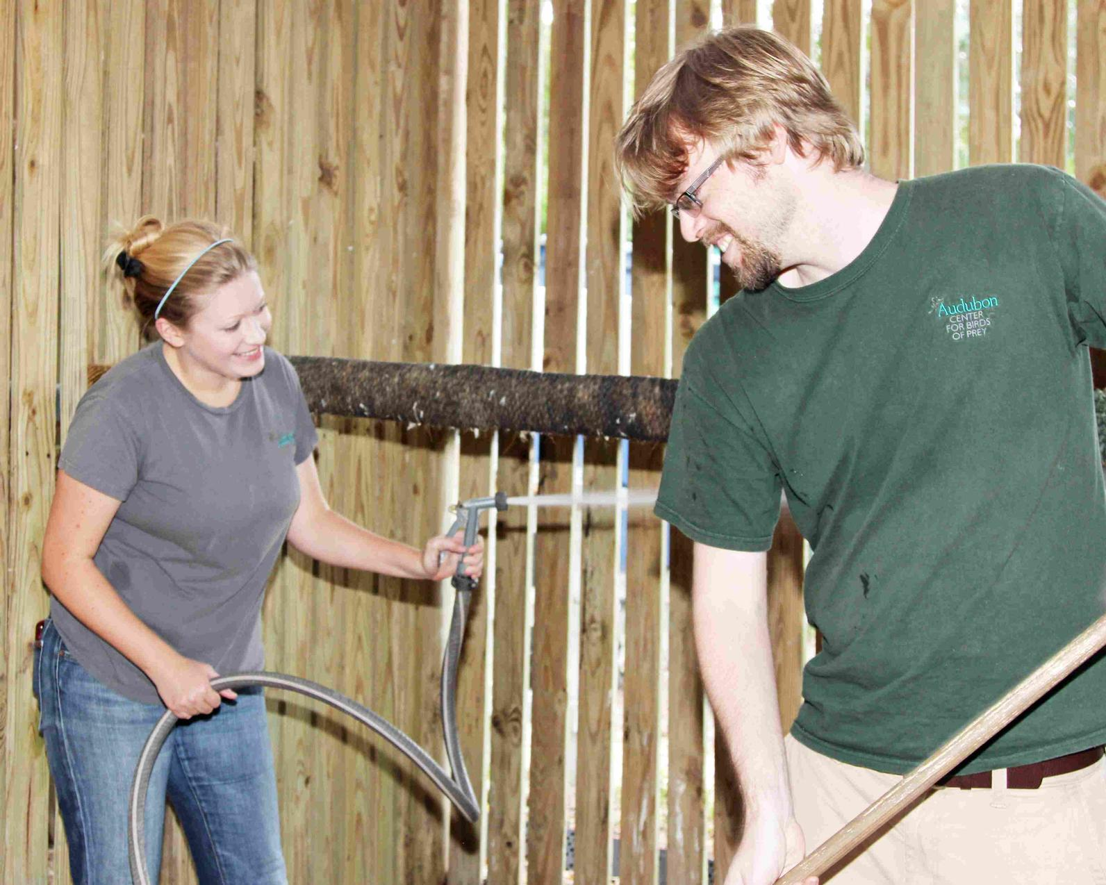Photo of volunteers cleaning aviary