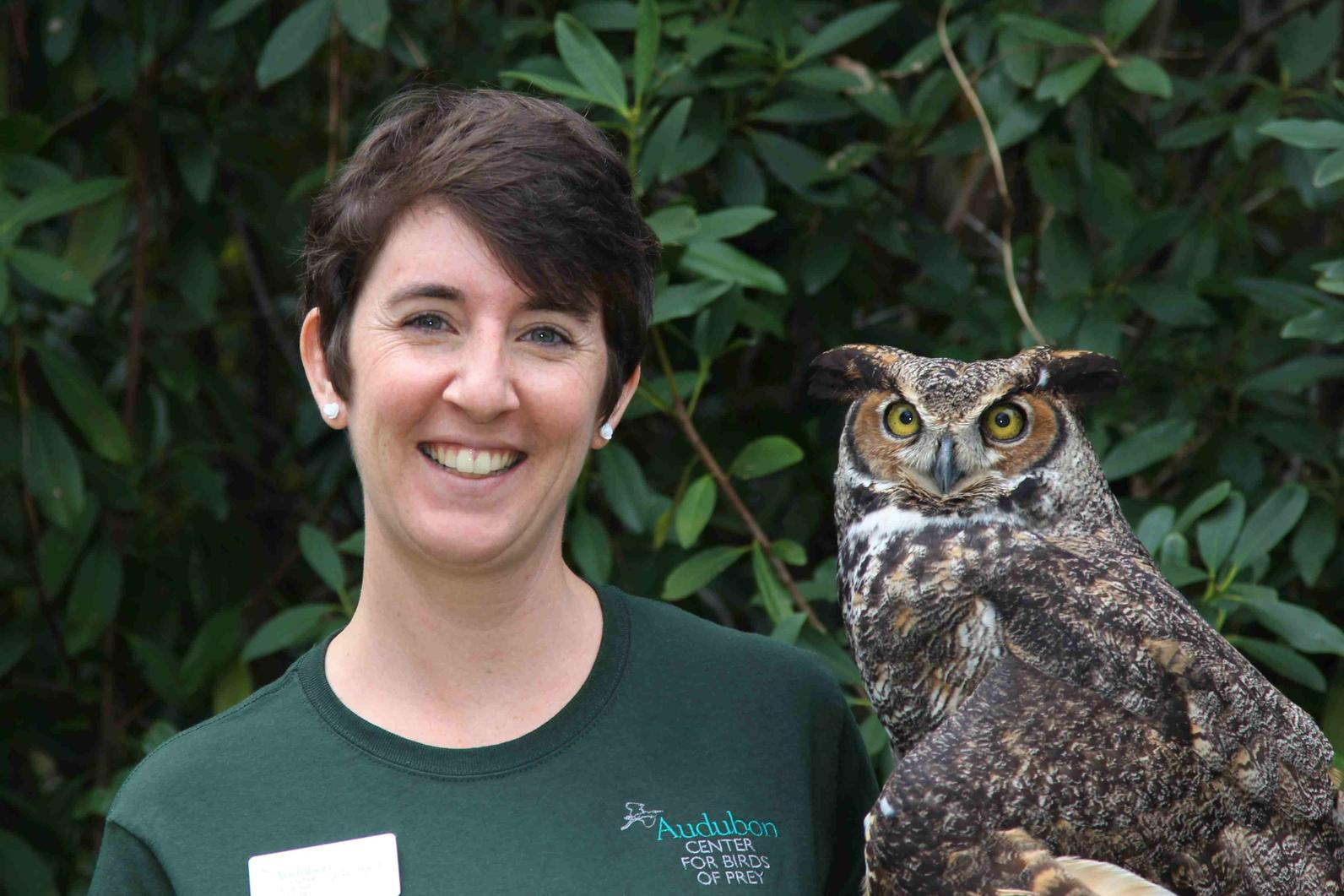 Photo of Great Horned Owl and Laura VonMutius
